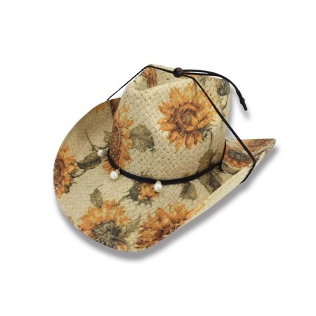 SUNDAY Old Stone 100% Paper Straw Ladies Cowboy Drifter Style Sun Hat - AH-253-PP (Straw Cowboy Hat)