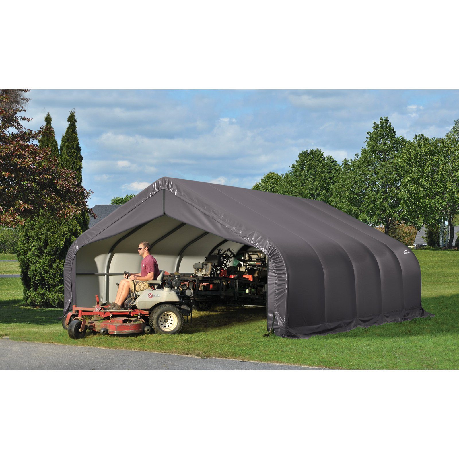 18' x 24' x 9' Peak Style Shelter, Gray