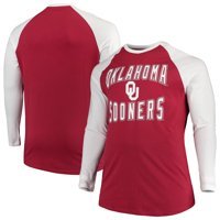 Oklahoma Sooners Colosseum Big And Tall Cajun Long Sleeve Raglan T-Shirt - Crimson/White