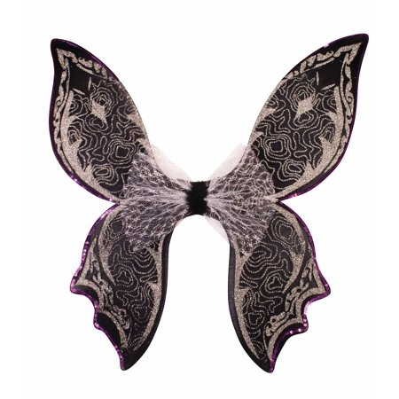 Silver Black Glitter Gothic Angel Fairy Butterfly Wings Costume Accessory Womens