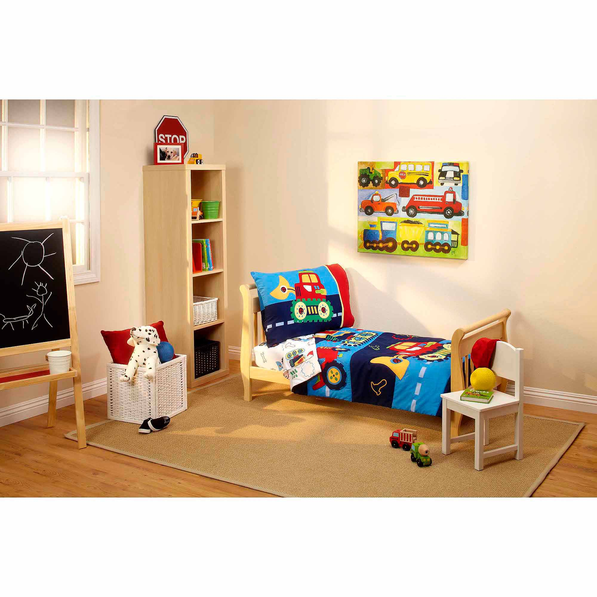 Everything Kids Under Construction 3-Piece Toddler Bedding Set with BONUS Matching Pillow Case