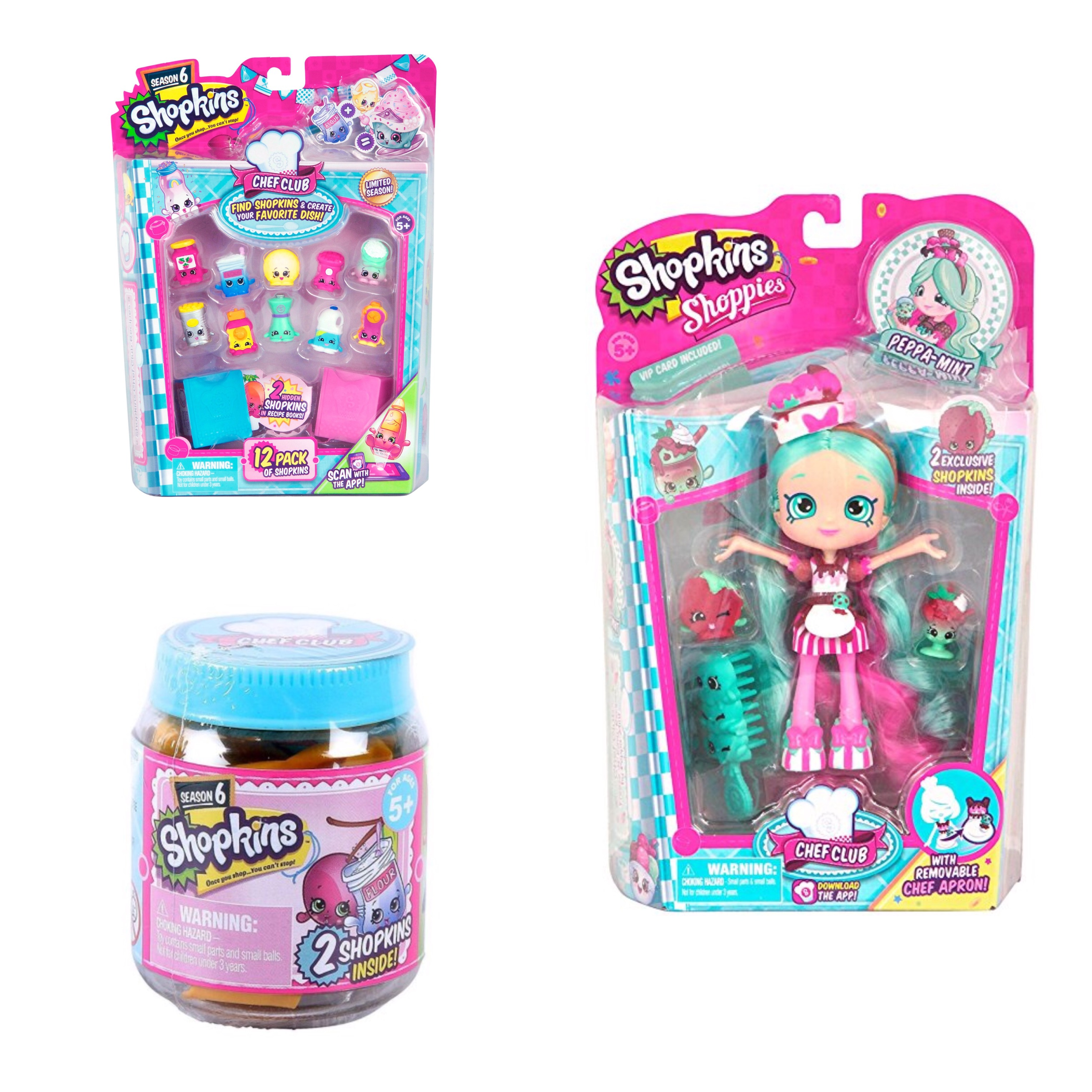 Shopkins Season 6 Chef Club PeppaMint Shoppie Doll, 12 Pack  and Blind Jar Bundle