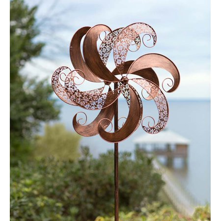 (Copper-Colored Metal Wind Spinner for Gardens)
