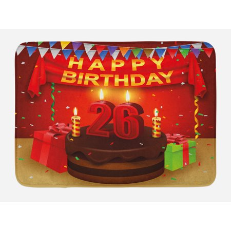 26th Birthday Bath Mat, Chocolate Cake with Candles and Ribbons Surprise Event Best Wishes Image, Non-Slip Plush Mat Bathroom Kitchen Laundry Room Decor, 29.5 X 17.5 Inches, Multicolor,