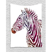 Animal Tapestry, Ornamental Zebra Profile Silhouette Artistic Striped Safari Theme Artwork, Wall Hanging for Bedroom Living Room Dorm Decor, 40W X 60L Inches, Purple Pink Coral, by Ambesonne