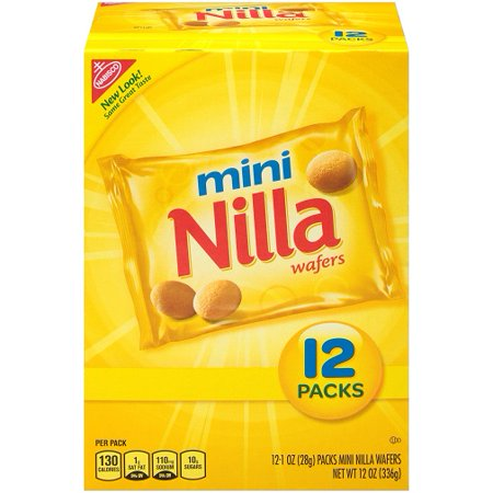 (2 Pack) Nabisco Mini Nilla Wafers, 1 oz, 12 count