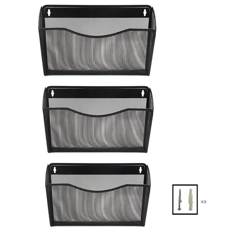 3-Pocket Office Mesh Collection Wall File Holder Organizer, Black (Wall Pocket File Organizer)