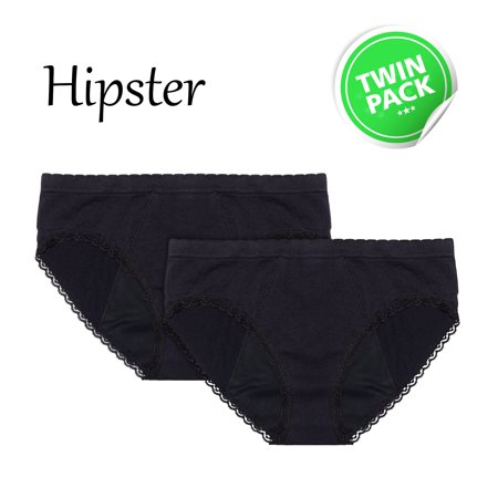 EvaWear Reusable Period Panty - 2 Pack Black Hipster -