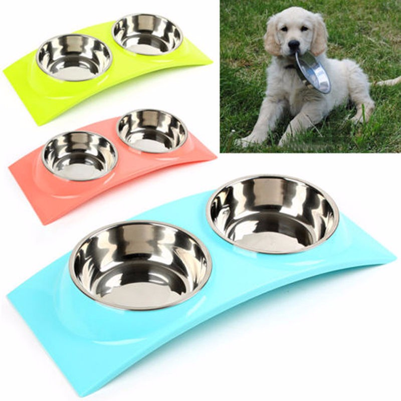 Stainless Steel Double Pet Dog Cat Bowl Puppy Food Water Feeder Feeding Dish