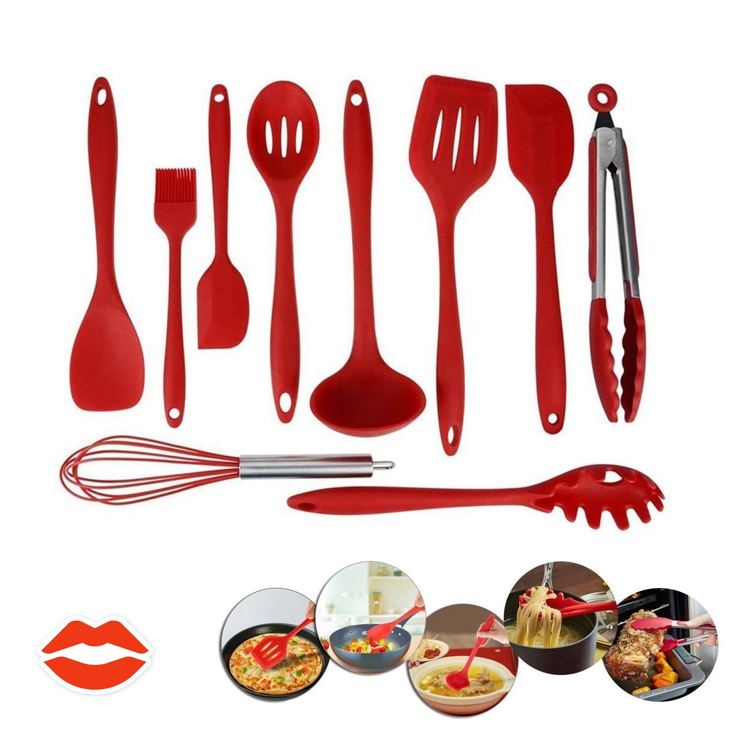 10 Piece/SET Home Kitchen Silicone Cooking Utensil Set Kitchen Cooking Tools Red