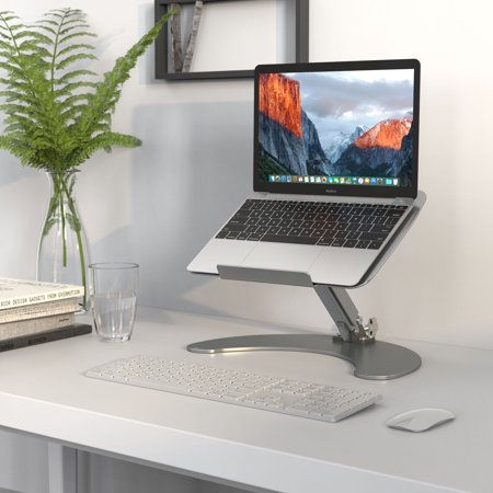"""SLYPNOS Height-And-Angle Adjustable Aluminum Laptop Stand, Cooling Ventilated Laptop Platform Riser Holder With Non-Slip Pads, Front Lip For 13""""-17"""" Laptop Tablet Notebook Smartphone, Silver"""