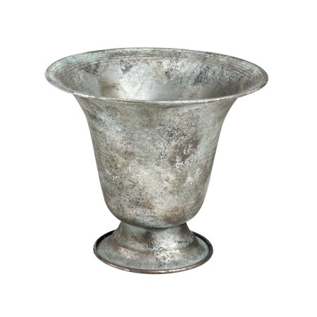 "- 6.75"" Silver Simply Elegant Distressed and Verdigris Urn Planter"