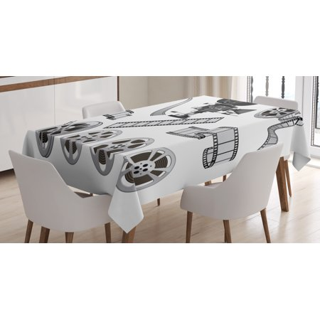 Movie Theater Tablecloth, Movie Industry Themed Greyscale Illustration of Projector Film Slate and Reel, Rectangular Table Cover for Dining Room Kitchen, 60 X 90 Inches, Grey Black, by Ambesonne ()