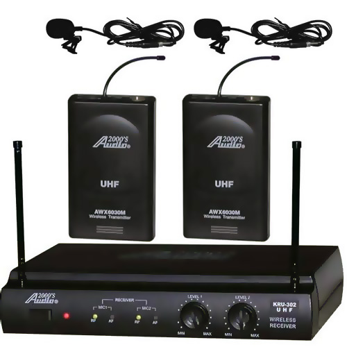 Audio2000s 6032UM UHF Dual Wireless Microphone 2 Lavalier by AUDIO2000S TM