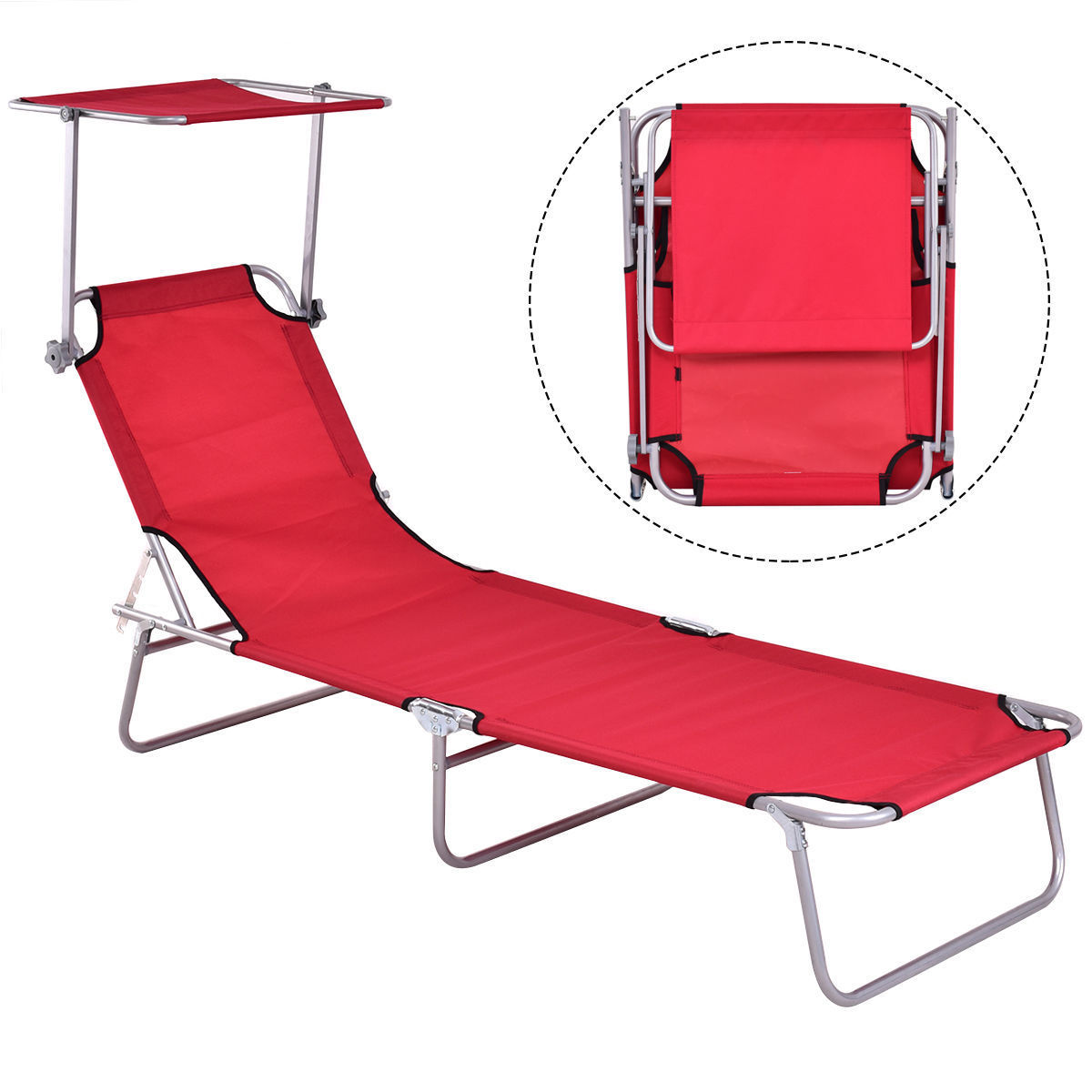 Gymax Foldable Sun Lounge Bed Chair Beach Recliner Seat Back Red