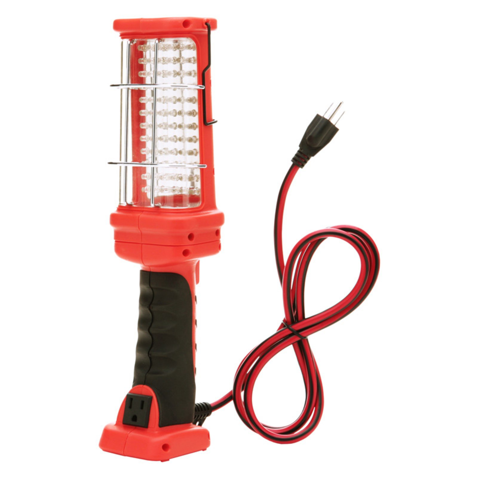 Woods 16/3 Gauge Super Bright Hand Held Work Light with Grounded Outlet, 72-LED, Red, 6-Foot Cord