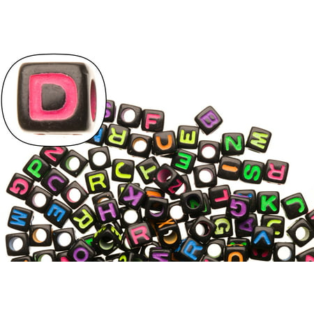 - Mix Neon Colored Alphabet Beads Black Base Acrylic Cubes 7x7mm