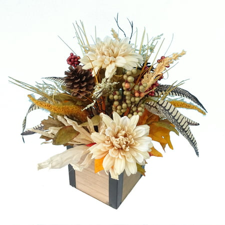 Mainstays Wood Harvest Floral and Wood Box Centerpiece ()