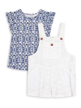 Jessica Simpson Girls Flutter Sleeve Top and Overalls, 2-Piece Outfit Set, Sizes 4-16