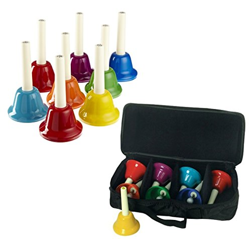 Rhythm Band 8 Note Metal Hand Bells Set of 8 with Case for 8-Note Hand bells Holds 8 Metal... by Rhythm Band