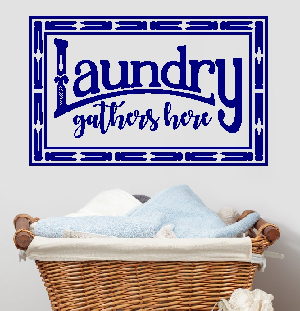"""Laundry Gathers Here: Wall Decal ~ 13"""" x 22"""" (Black)"""