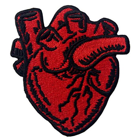 (X-Ray Anatomical Heart Embroidered Badge Iron On Sew On Patch)