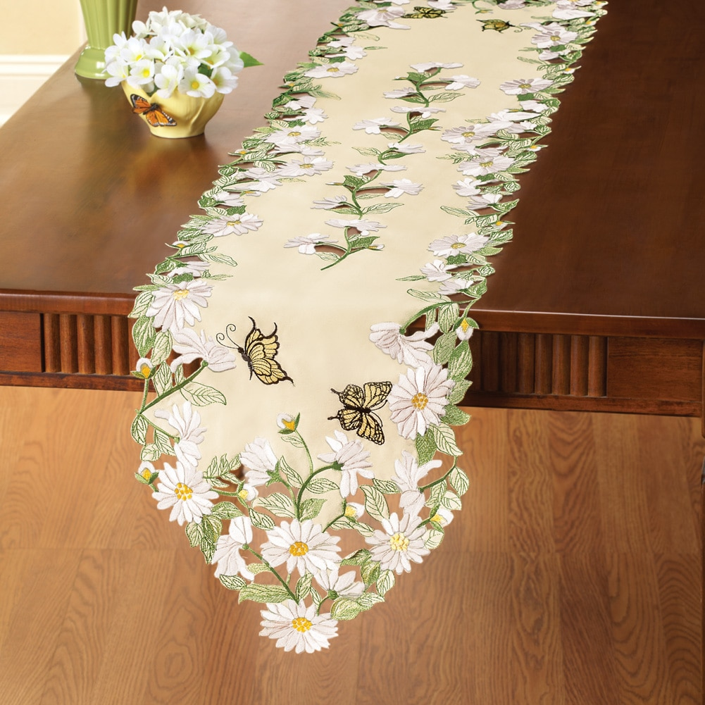 Embroidered Butterfly With Daisy Table Linens, Square, Multi by Collections Etc