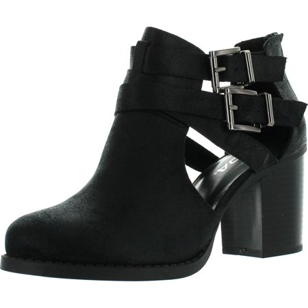 Soda Womens Scribe Ankle Bootie With Low Heel And Cut-Out Side Design Boots ()