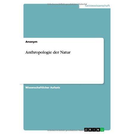Anthropologie Der Natur