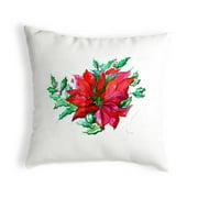 Betsy Drake KS901 12 x 12 in. Poinsettia Small No-Cord Pillow