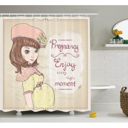 Quotes Decor Shower Curtain Set Pregnancy Enjoy Every Single Moment Fascinating Bathroom Clipart Set