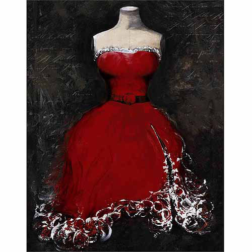 Frilly Fashion Evening Gown Dress Form Vintage Handwriting Red & Black Canvas Art by Pied Piper Creative