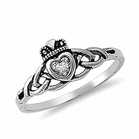 Men Women Sterling Silver 8mm Clear Heart CZ Claddagh Celtic Ring Engagement Ring
