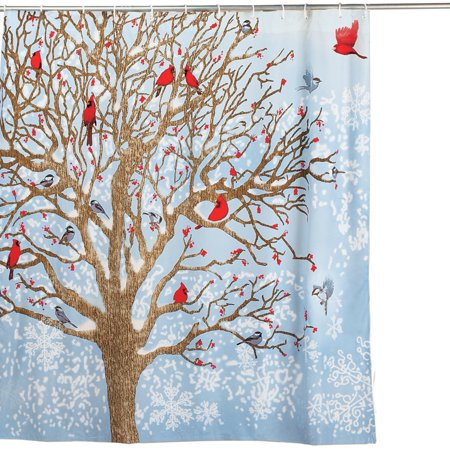 Winter Birds Scene Christmas Shower Curtain