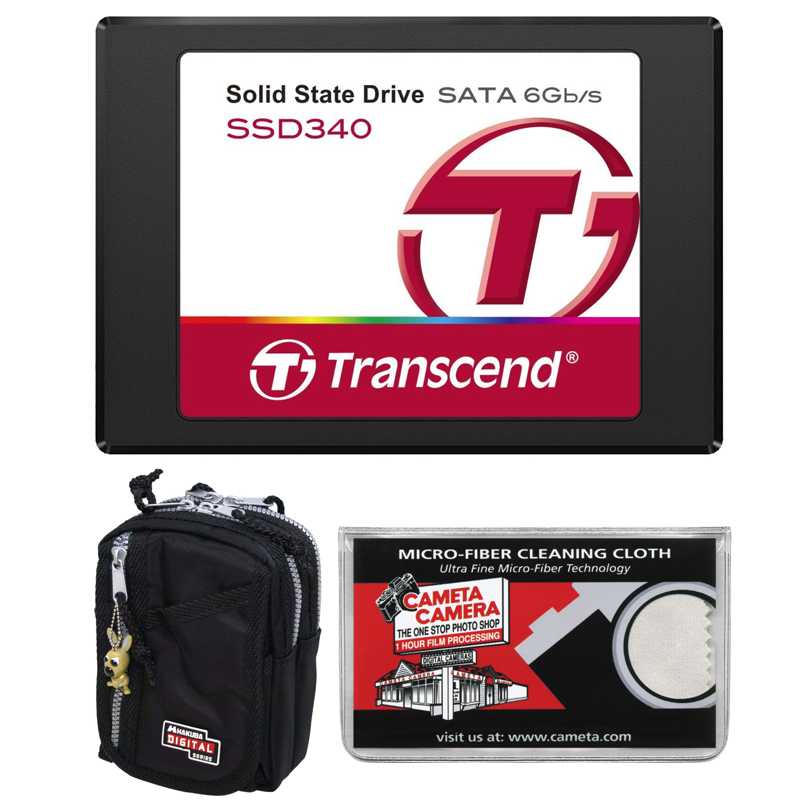 "Transcend 256GB SSD340 2.5"" Portable Solid State Hard Drive with Case + Cleaning Cloth"