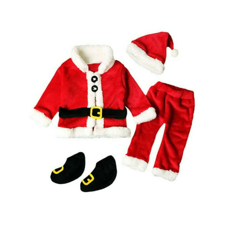 Christmas Santa Claus Costume Fancy Dress Kids Baby Suits Cosplay Outfits 4PCS ()