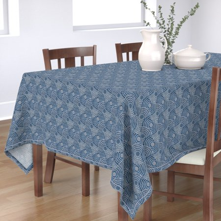 Image of Tablecloth Geometric Circles Jeans Blue 1990S Nostalgia Video Vhs Cotton Sateen