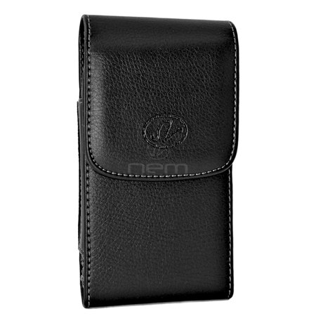 Nokia Lumia 638 Premium High Quality Black Vertical Leather Case Holster Pouch w/ Magnetic Closure and Swivel Belt Clip (Nokia Lumia 638)
