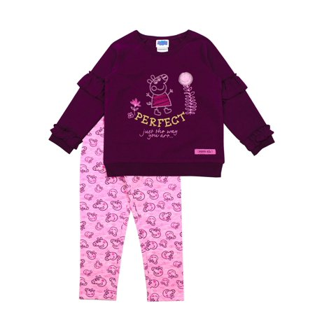 Peppa Pig French (Peppa Pig Long Sleeve Ruffle French Terry Top and Printed Leggings, 2pc Outfit Set (Toddler)