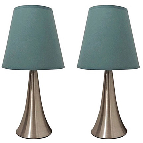Simple Designs Two-Pack Mini Touch Table Lamp Set with Blue Shades