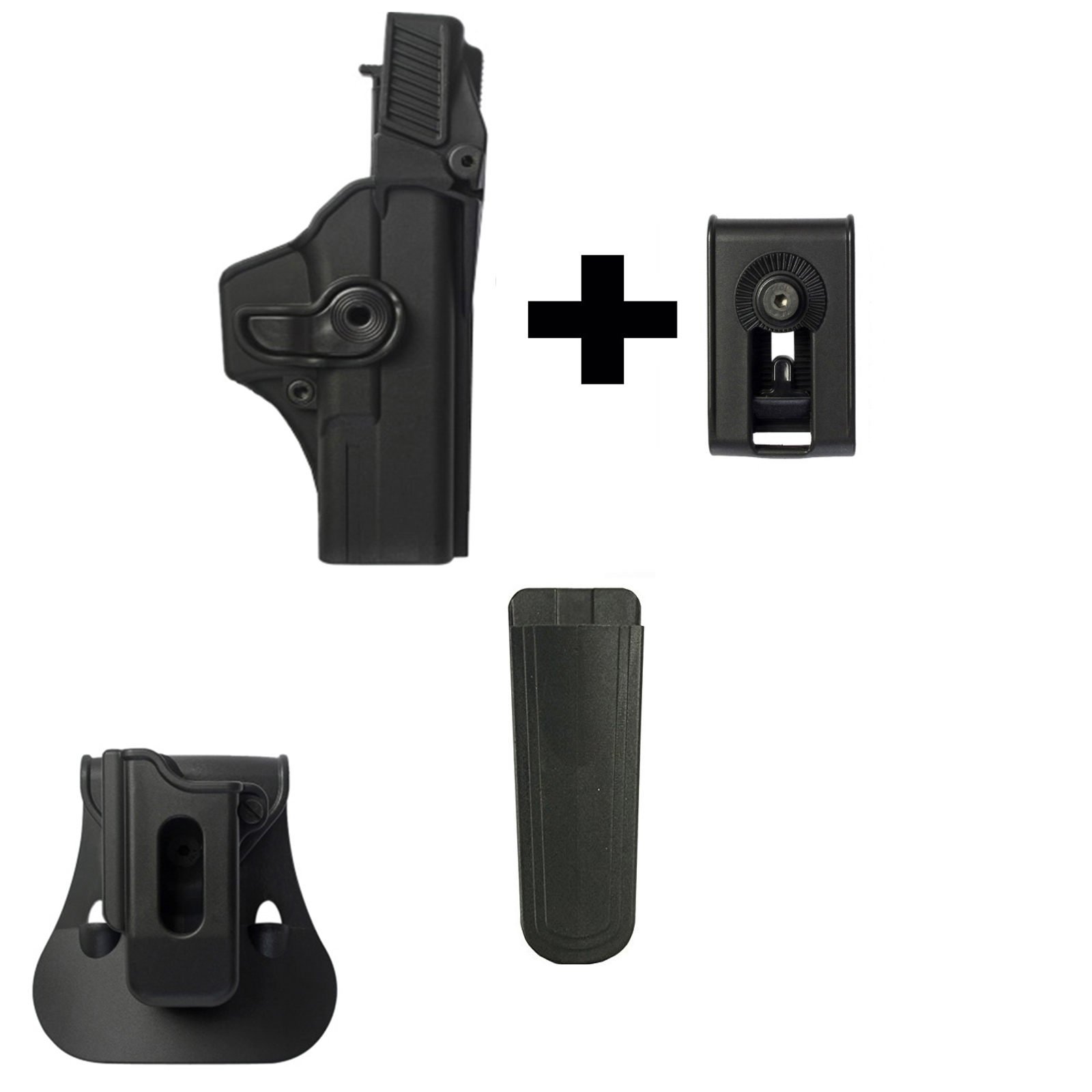 IMI Defense ZSP08 Single Mag Pouch & Paddle + Z1410 Level 3 360� Rotate Holster Glock 17 22 31 Gen 4, Black + Z2150 Belt... by