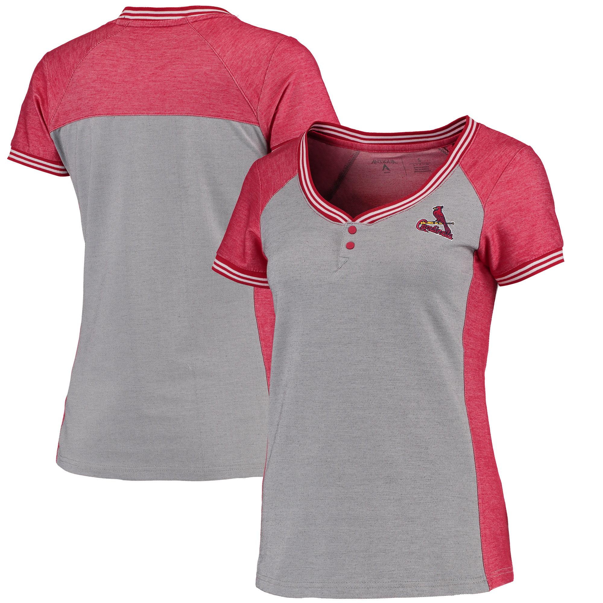 St. Louis Cardinals Antigua Women's Quick Henley T-Shirt - Gray/Red