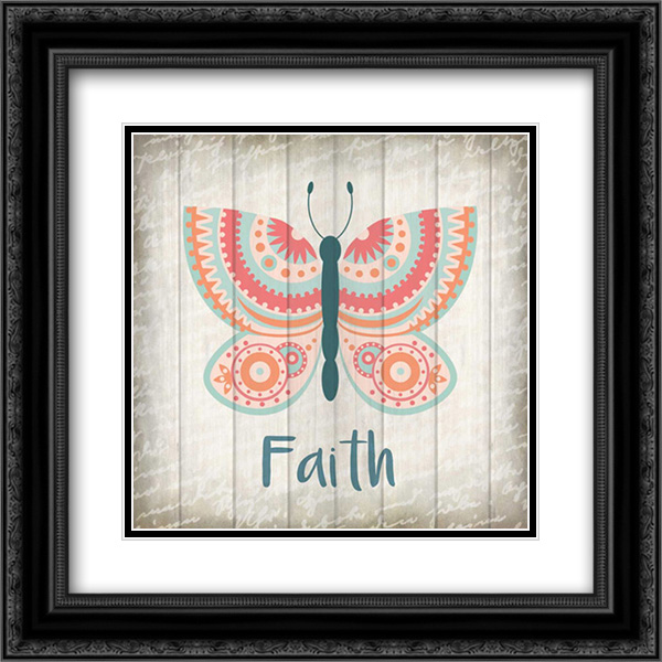 Butterfly Faith 2x Matted 20x20 Black Ornate Framed Art Print by Allen, Kimberly