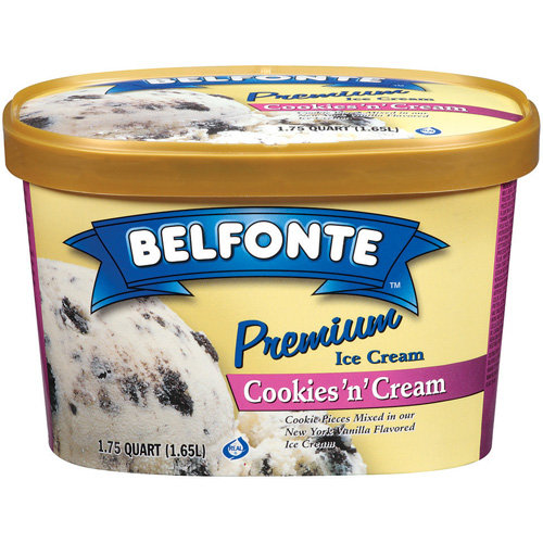 Belfonte Premium Cookies 'N' Cream Ice Cream, 1.75 qt