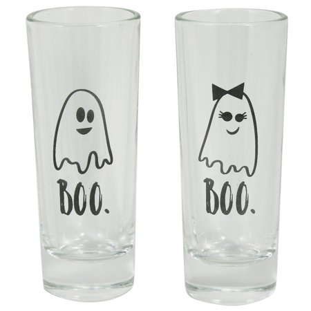 HALLOWEEN BOO GHOST SHOT GLASS, 2 COUNT - Live Halloween Ghost Hunt
