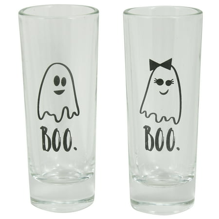 HALLOWEEN BOO GHOST SHOT GLASS, 2 COUNT