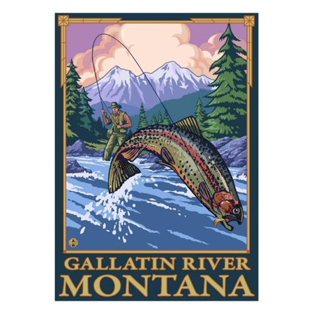 Fly Fishing Scene, Gallatin River, Montana Vintage Travel Advertisement Print Wall Art By Lantern