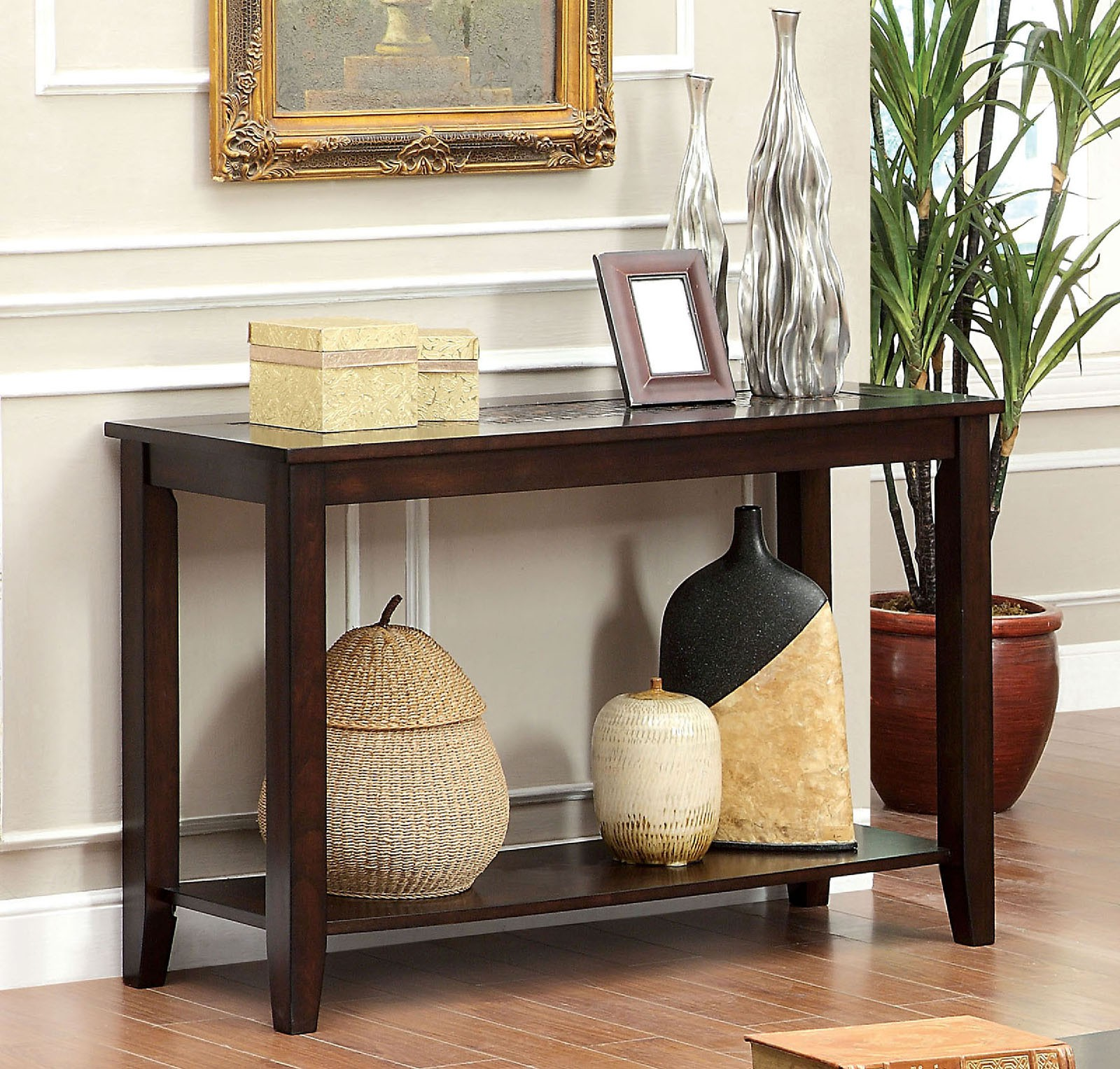 Simple Relax Twonsend Transitional Sofa Console Table Mosaic Top Open Shelf  Dark Wood Cherry