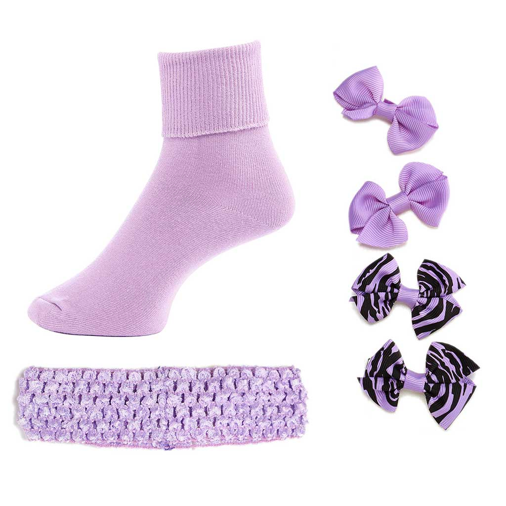 Greatlookz From Head to Toe Girls Socks with Matching Headband and Hair Bows