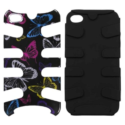 Insten Vivacious Butterfly (2D Silver)/Black Fishbone Case For iPhone 4 4S
